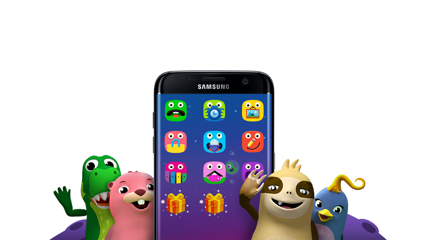 Galaxy S7 Edge Surrounded By Animation Characters From Samsung Kids Mode App