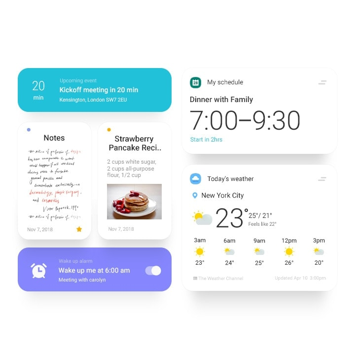 Simulated One UI icons and applications
