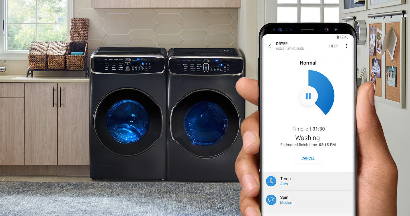 samsung connect apps the official samsung galaxy site a washing machine in the laundry room and the right hand holding galaxy s8 with remote