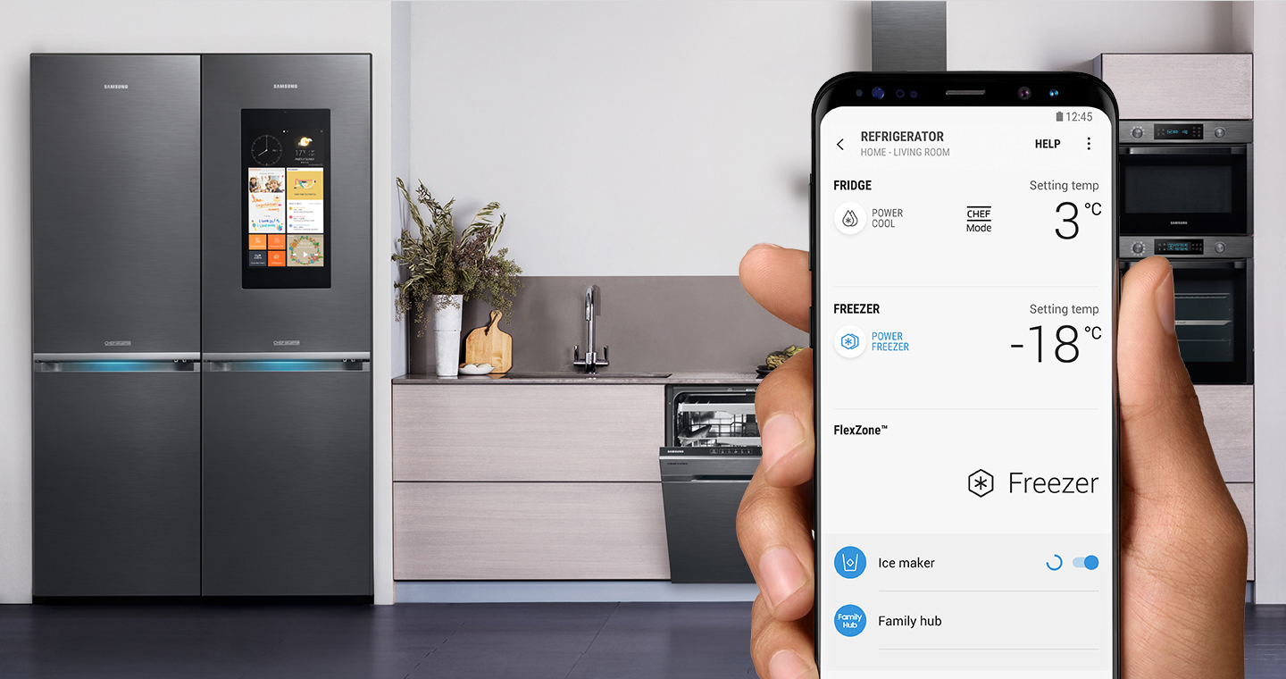 samsung connect apps the official samsung galaxy site a refrigerator and the right hand holding galaxy s8 with remote control screen
