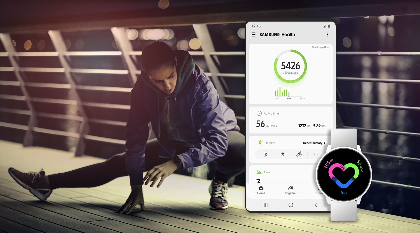 A woman is stretching on the bridge while checking the Galaxy Watch. A smartphone screen shows the steps she walked, her active time and running time. Galaxy Watch shows her active time and burned calories.
