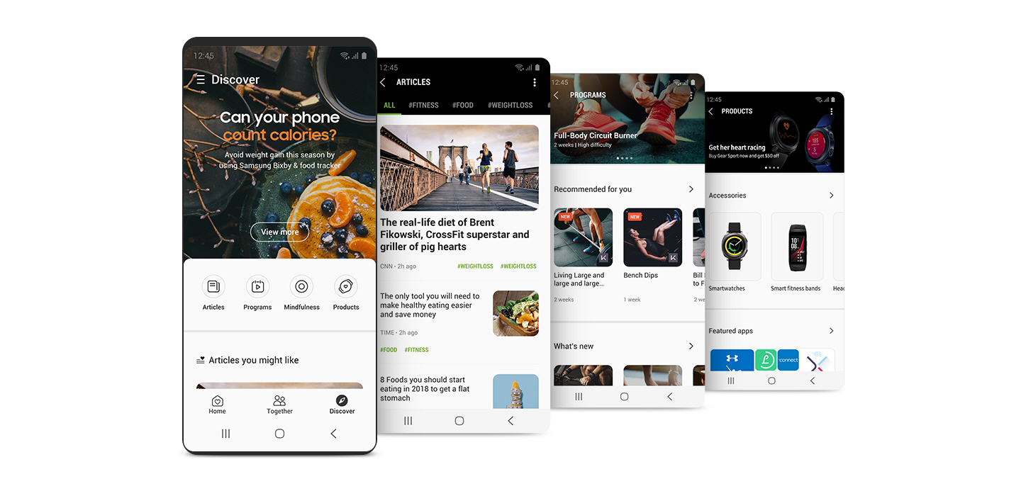 "A front view of the smartphone showing ""DISCOVER"" in the Samsung Health app, and three images featuring ""ARTICLES"", ""PROGRAMS"", and ""PRODUCTS"" in the Samsung Health app."