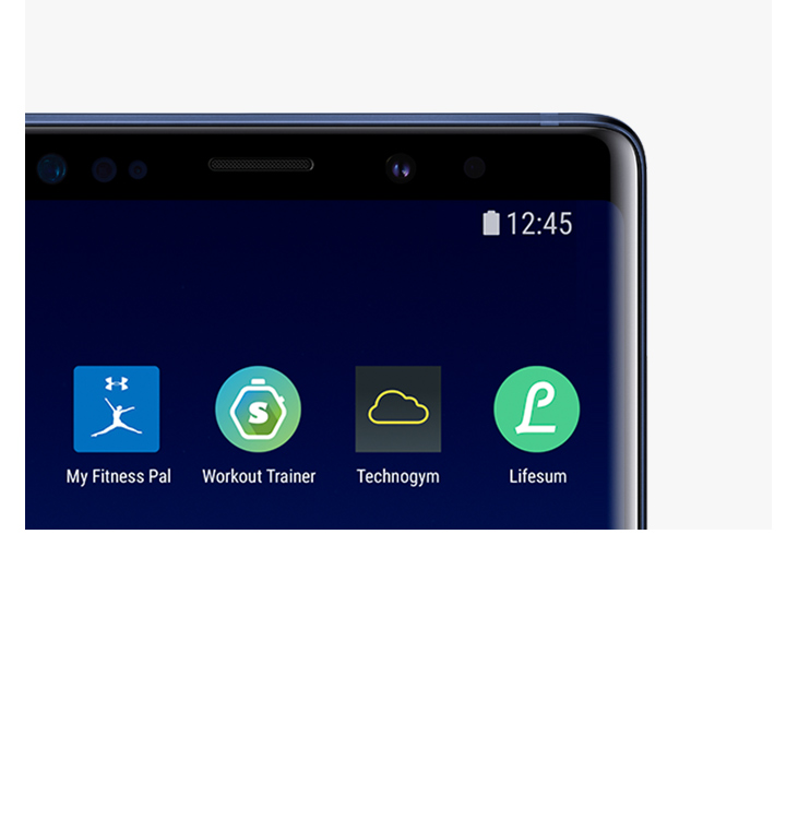 Top View Of Galaxy Note9 Ocean Blue With Apps Compatible With Health App