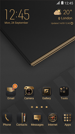 deluxe gold black theme home screen