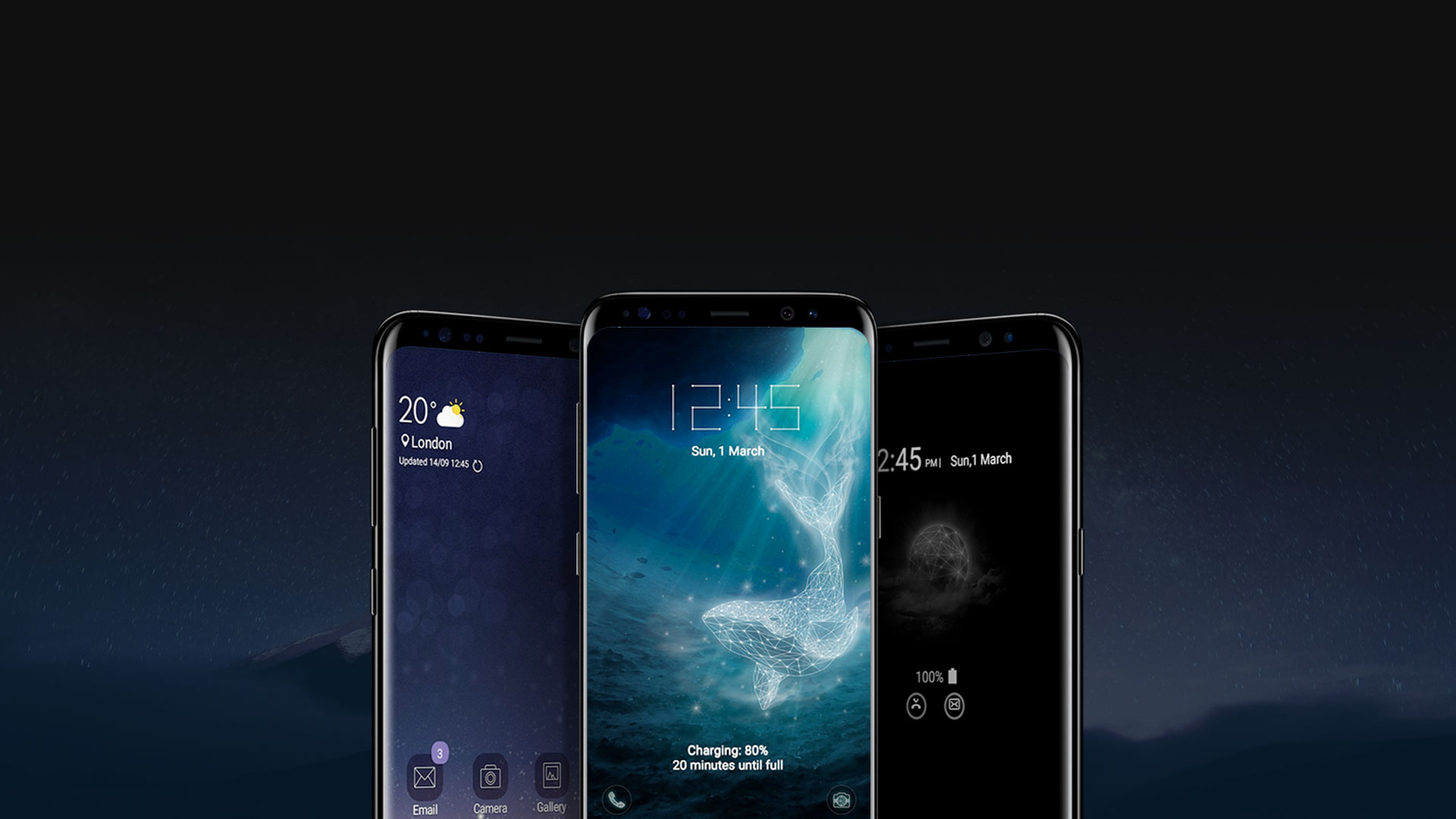 front view of three galaxy s8 midnight black with different samsung themes on the screen