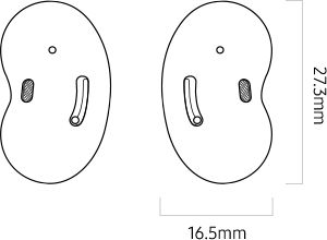 A line drawing of a pair of Galaxy Buds Live
