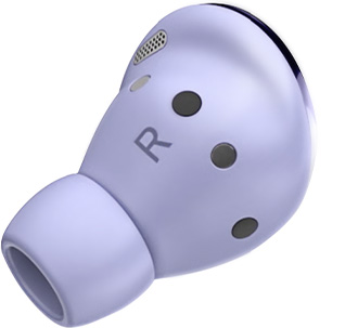 Right earbud of Galaxy Buds Pro in Phantom Violet, seen from the side to show the size of the medium-sized ear-tip. One small-sized ear-tip and one large-sized ear-tip are seen on either side of the earbud.