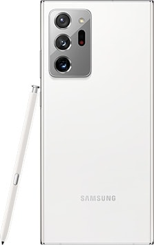 Galaxy Note20 Ultra in Mystic White seen from the rear. The matching S Pen is leaning against the side.
