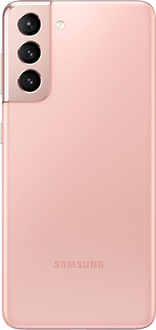 Galaxy S21 5G in Phantom Pink, seen from the rear.
