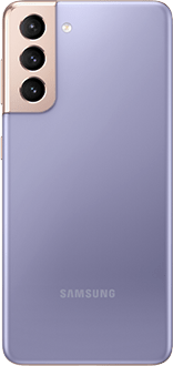 Galaxy S21 5G in Phantom Violet, seen from the rear.