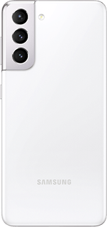 Galaxy S21 5G in Phantom White, seen from the rear.