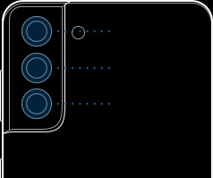 Illustration of Galaxy S21 Plus 5G seen from the rear showing the locations of the Ultra Wide Camera, Wide-angle Camera and Telephoto Camera.
