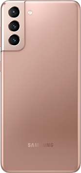 Galaxy S21 Plus 5G in Phantom Gold, seen from the rear.