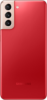 Galaxy S21 Plus 5G in Phantom Red, seen from the rear.