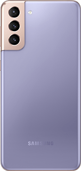 Galaxy S21 Plus 5G in Phantom Violet, seen from the rear.