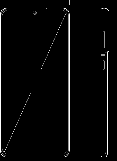 Illustration of Galaxy S21 Plus 5G seen from the front and from the side. On the front is a diagonal line showing the measurement of the Infinity-O Display.
