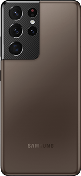 Galaxy S21 Ultra 5G in Phantom Brown, seen from the rear.