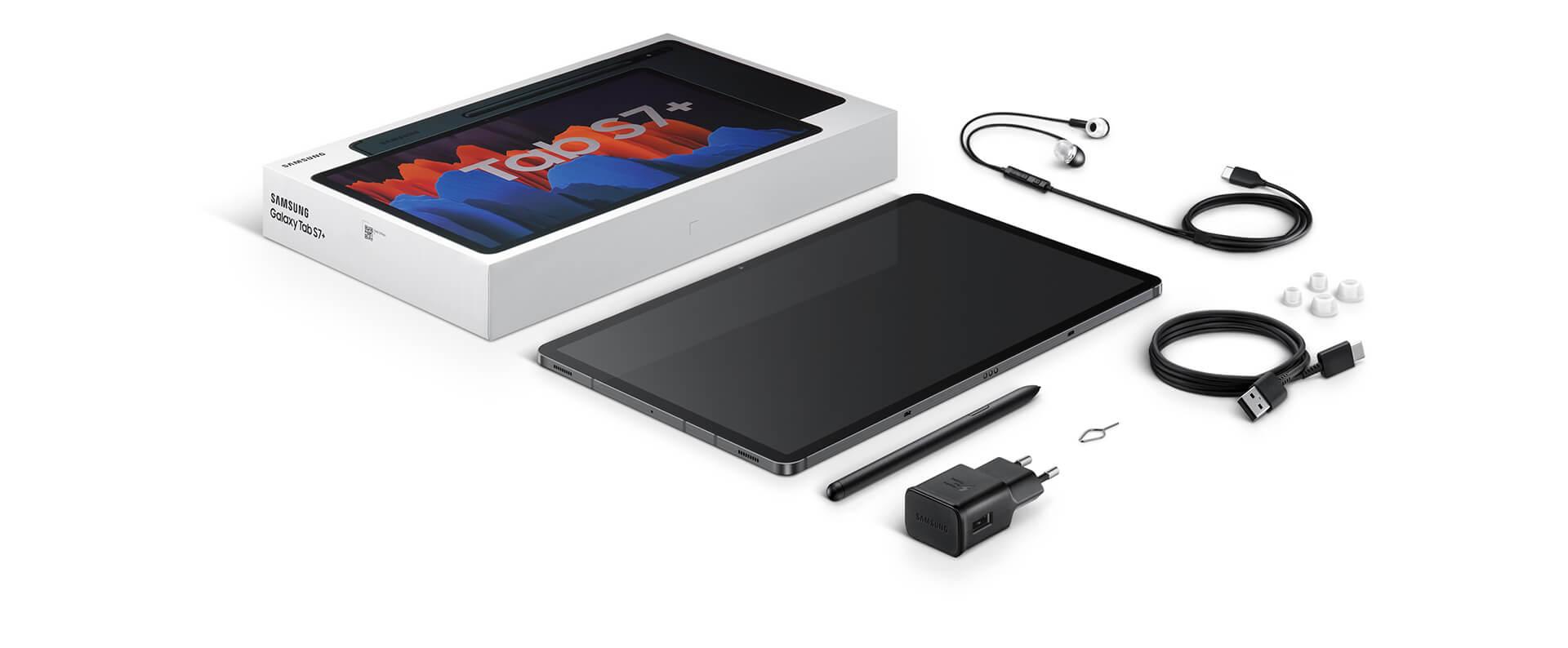 Galaxy Tab S7 +のボックスに含まれるアイテムのフラットレイアウト。 パッケージ、デバイス、Sペン、トラベルアダプター、USB Type-Cイヤホン、データリンクケーブル、SIM取り出しピン