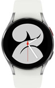 40mm silver Galaxy Watch4 with white strap