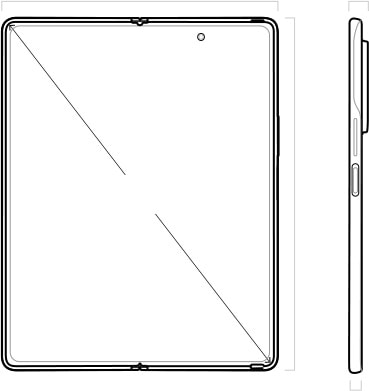 Illustration of Galaxy Z Fold2 unfolded and seen from the Main Screen, and seen from the Power key side showing the frame and rear camera protrusion.