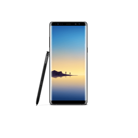 Front View Of Galaxy Note8 In Portrait Mode With S Pen Leaning Against The Device