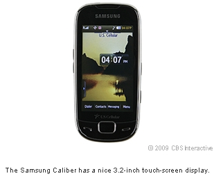 The Samsung Caliber has a nice 3.2-inch touch-screen display.