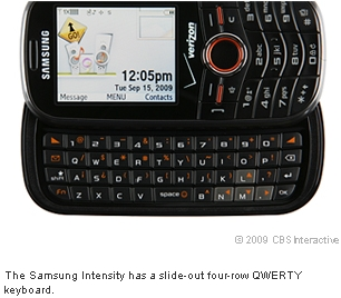 The Samsung Intensity has a slide-out four-row QWERTY keyboard.