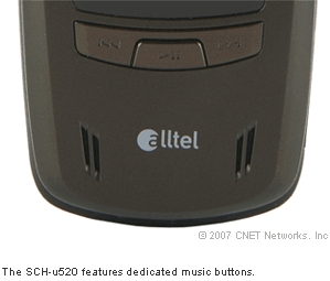 The SCH-u520 features dedicated music buttons.