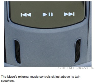 The Muse's external music controls sit just above its twin speakers.