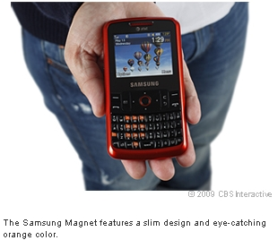 The Samsung Magnet features a slim design and eye-catching orange color.