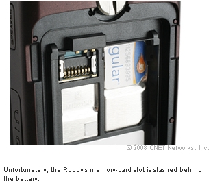 Unfortunately, the Rugby's memory-card slot is stashed behind the battery.