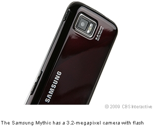 The Samsung Mythic has a 3.2-megapixel camera with flash
