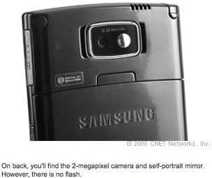 On back, you'll find the 2-megapixel camera and self-portrait mirror. However, there is no flash.