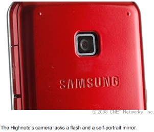The Highnote's camera lacks a flash and a self-portrait mirror.