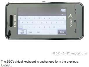 The S30's virtual keyboard is unchanged form the previous Instinct.