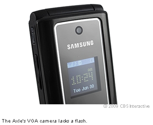 The Axle's VGA camera lacks a flash.