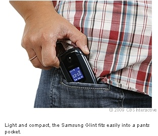 Light and compact, the Samsung Glint fits easily into a pants pocket.