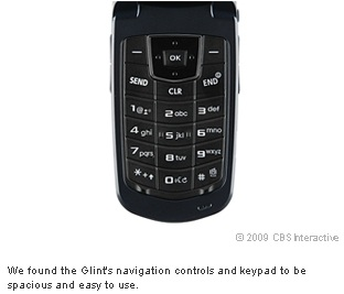 We found the Glint's navigation controls and keypad to be spacious and easy to use.