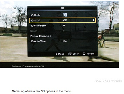 Samsung offers a few 3D options in the menu.