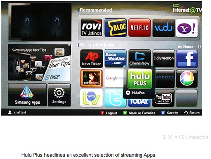Hulu Plus headlines an excellent selection of streaming Apps.