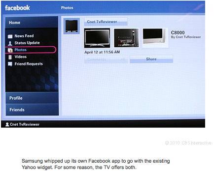 Samsung whipped up its own Facebook app to go with the existing Yahoo widget. For some reason, the TV offers both.