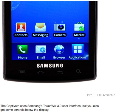 The picture quality of the Captivate's 5-megapixel camera was just OK.