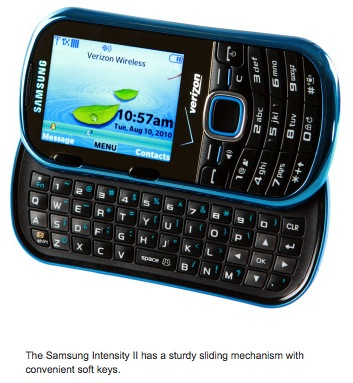 The Samsung Intensity II has a sturdy sliding mechanism with convenient soft keys.