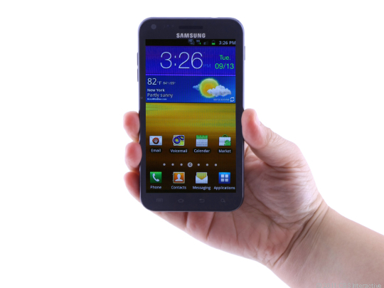 The Samsung Epic 4G Touch is a big phone, but its slim profile and light weight help make it manageable.