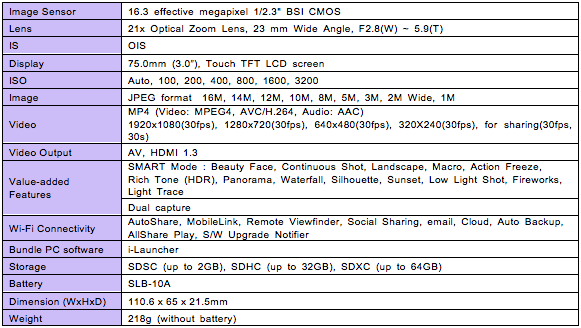 WB800F Product Specifications