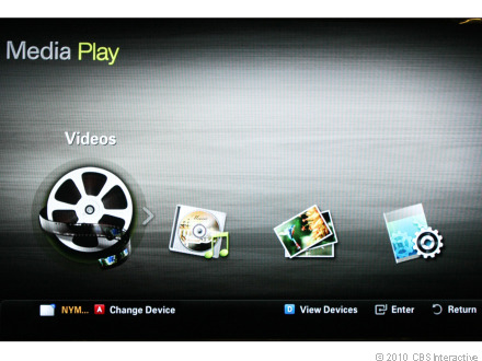 Accessing the Samsung Apps user interface lets you select from more streaming media services.