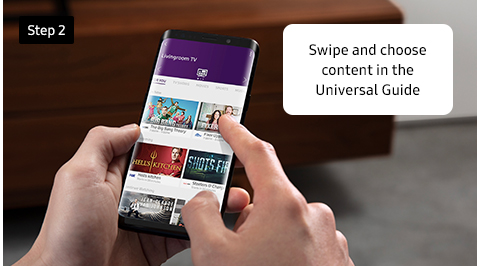 Swipe and choose content in the Universal Guide