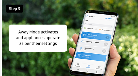 Away Mode activates and appliances operate as per their settings