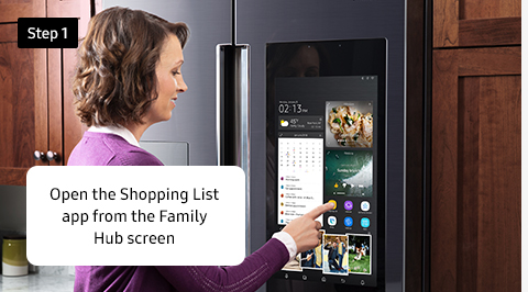 Open the Shopping List app from the Family Hub screen