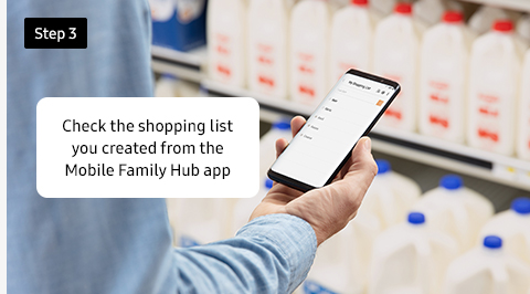Check the shopping list you created from the Mobile Family Hub app